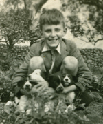 A smiling Joss is pictured with Collie puppies at Middle Row. But behind the smile there was the constant pain of his back injury.